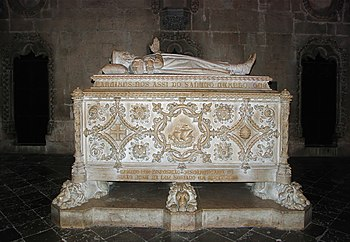 English: The tomb of Vasco da Gama, in the Jer...