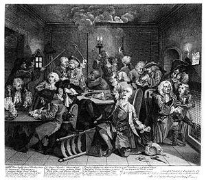 William Hogarth: A Rake's Progress, Plate 6: S...