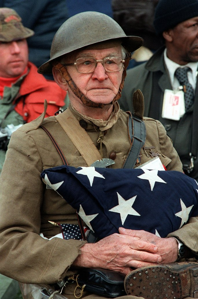 World War I veteran Joseph Ambrose, 86, at the dedication day parade for the Vietnam Veterans Memorial in 1982