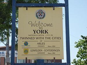 "A ""welcome sign"" featuring York's tw..."
