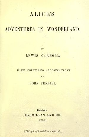title page of the 1865 edition of Lewis Carrol...