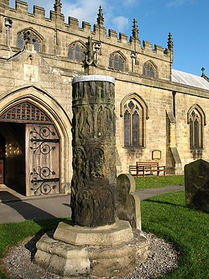 English: Anglo Saxon shaft at Masham church. T...