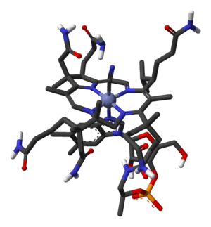 Stick model of cyanocobalamin, based on this 3...