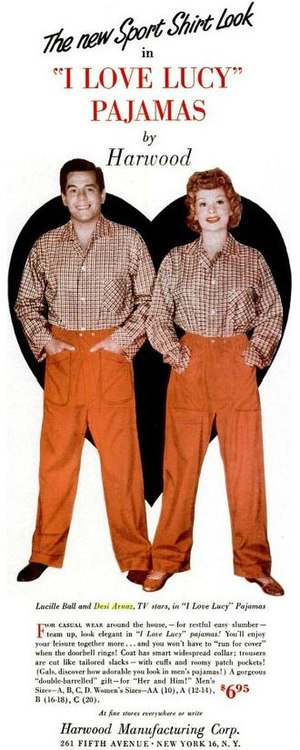English: Ad for I Love Lucy pajamas.