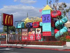 McDonald's Restaurant with prominent kids' pla...