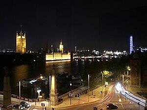 British Parliament and London Eye at night