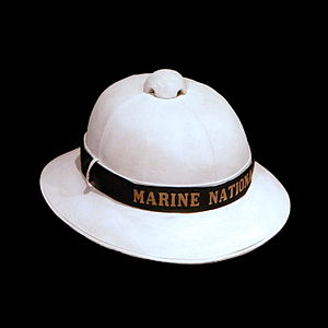 English: French Navy pith helmet of the early ...