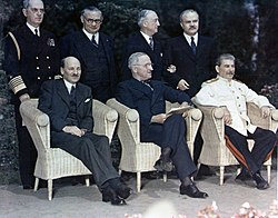 Clement Attlee, Harry Truman and Joseph Stalin at the Potsdam Conference, July 1945