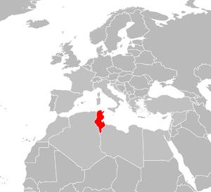 locator map for Tunisia