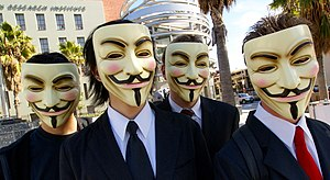 Anonymous with Guy Fawkes masks at Scientology...