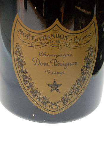 Bottle and label of Dom Perignon from the Fren...