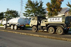 Disaster relief convoy of the Japan Self-Defen...