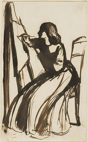 English: Elizabeth Siddal Seated at an Easel