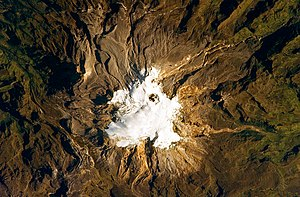Nevado del Ruiz seen from space. The summit ic...