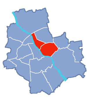 Locator map of Praga Północ and Praga Południe