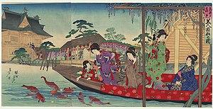 English: A scene of women enjoying a boat ride...