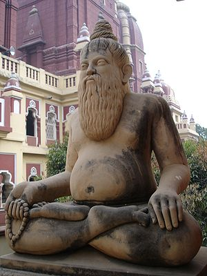 A sculpture of a Hindu yogi in the Birla Mandi...