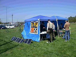 Solar-powered Amateur Radio Station in tents. ...