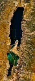 O Mar Morto visto do espaço, com as áreas de extração de sal no sul
