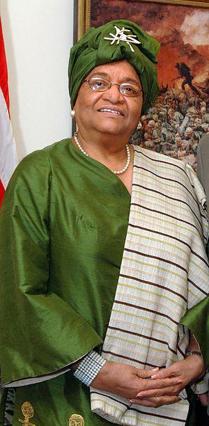 Liberian President Ellen Johnson-Sirleaf poses...