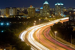 Night lapse of the 401. Even at 9:30pm, the ro...