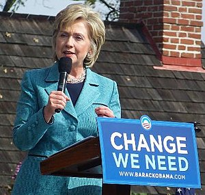 Hillary Clinton speaking at a rally in support...