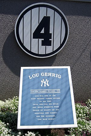 Picture of Lou Gehrig's plaque at Yankees Stadium.