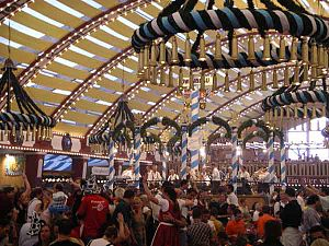 Inside a tent at Munich's Oktoberfest - the wo...