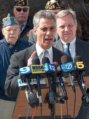 Congressman Rahm Emanuel (center) with Sol Sch...
