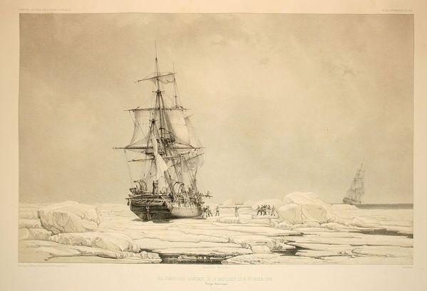 Une des corvettes de Dumont d'Urville, prises dans les glaces