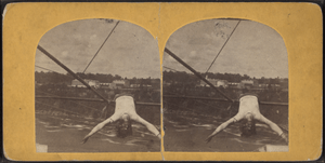 Blondin. (Tightrope walker dangling from a wir...