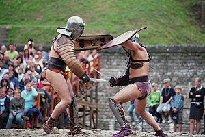 """Gladiator fights at """"Brot und Spiele""""..."""