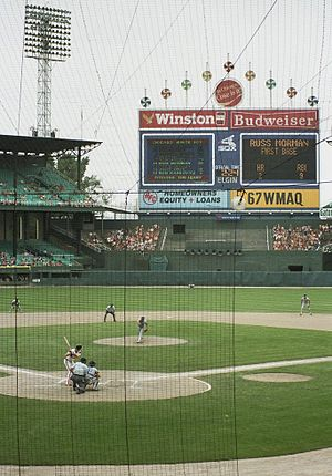 English: Game action at Comiskey Park, Chicago...