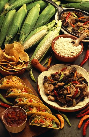 cornmeal products such as tortillas and taco s...