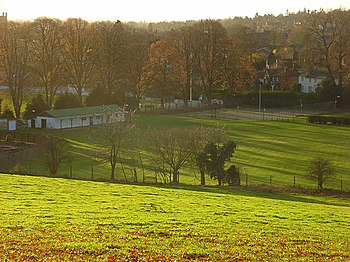 English: Hillside above Henley Looking down fr...