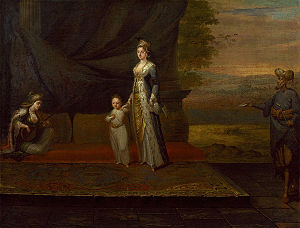 Lady Mary Wortley Montagu with her son, Edward...