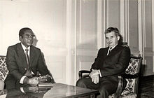 Mugabe in a meeting with Romanian communist leader Nicolae Ceausescu in 1979