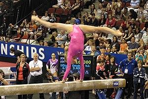 English: Nastia Liukin on the balance beam at ...