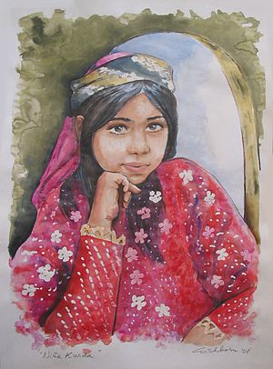 "English: ""Kurdish girl"", watercolor ..."