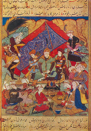 "Timur feasts in the environs of Samarkand.""Zaf..."