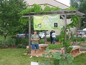 Entrance to Village Roots Garden during the &q...