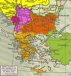 English: Balkan peninsula between the two Balk...