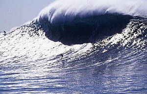 Surfing on a big wave