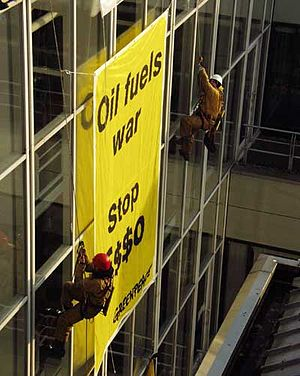 Greenpeace demonstrating against Esso. March, ...