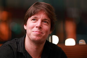 English: Violinist Joshua Bell following a per...