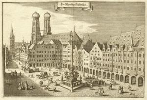 Marienplatz, Munich about 1650.