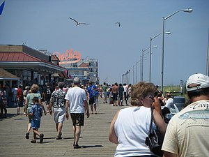A view of the boardwalk in Rehoboth Beach, Del...