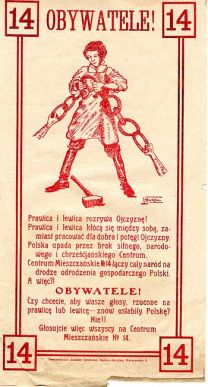Polish political propaganda leaflet for an ant...