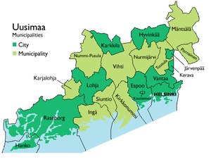 A map of the municipalities of Uusimaa.