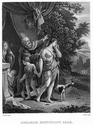 Banishment of Hagar, Etching. À Paris chez Fr....